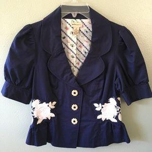 elevenses anthropologie floral blazer jacket